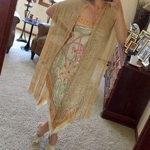 Loft gold crochet scarf wrap